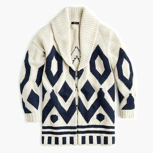 J. Crew fair isle cardigan coat